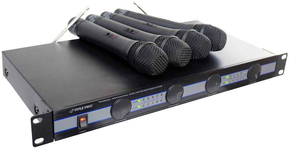 Amplificador PYLE PRO VHF con sistema de micrófonos inalámbricos