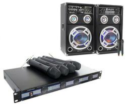 """Pack Amplificador con micrófono + 2 Altavoces Activos 8"""""""